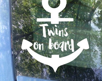 Twins on board Anchor Decal | Car Decal | New Baby | Baby Shower Gift | Baby on board Sticker | Anchor Decal | Nautical | Bumper Sticker