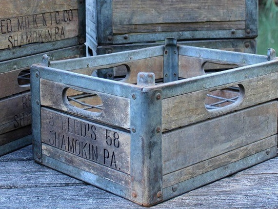 Vintage Milk Crate, Wood Crate, Metal Crate, Farmhouse Decor, Rustic Storage