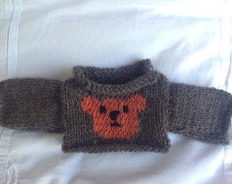Knitted Bear/Doll Jumper - Teddy bear design