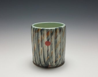 Handmade ceramic tumbler with red dot by PotteryI.