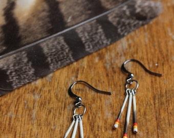 Porcupine Quills Earrings - Porcupine Jewelry - Yellow Orange Red Earrings - Color Gradient - Dangle Drop Earrings - Hippy Jewel - Boho Art