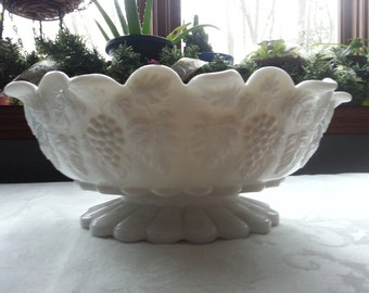Westmoreland Paneled Grape Oval Pedestal Footed Bowl; Elegant White Milk Glass  11""