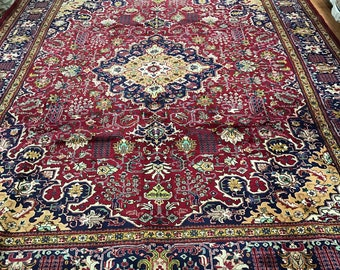 "10'5"" x 13'1"" Persian Tabriz Oriental Rug - 1980s - Hand Made - 100% Wool"