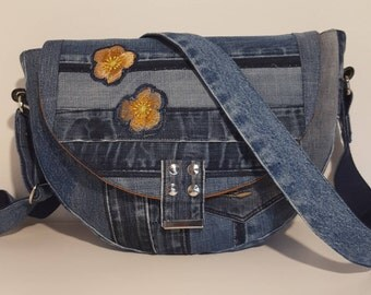 Patchwork bag made of jeans with flowers