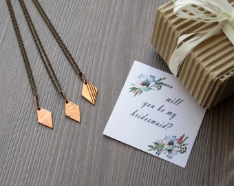 Will you be my bridesmaid gift ideas for Bridesmaid card Bridesmaid box bridesmaids necklace set of 6 necklaces bridesmaid proposal ideas