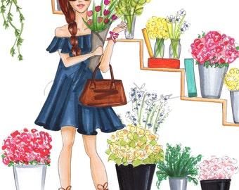 "Instant download ""Flower shop red hair""  printable illustration, digital fashion illustration, printable art, fashion clipart, comercial use"