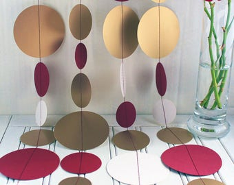 Gold & Maroon Paper Garland 3m or 6m