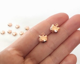 5 Rose Gold Kitty Charms 10 mm Puffy Kitty Rose Gold Tone BE80