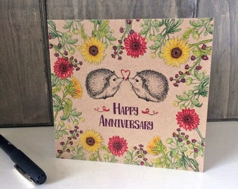 Happy Anniversary Card with Flowers and Hedgehogs, unique illustrated greeting card for wife, girlfriend, square brown kraft card recycled