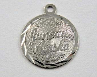 Juneau Alaska Sterling Silver Charm or Pendant.