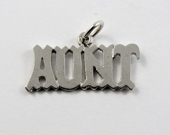 Aunt Sterling Silver Charm or Pendant.