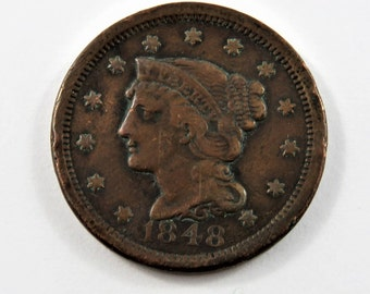 U.S. 1848 Braided Hair One Cent Coin.