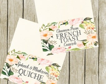 Custom Food Tent Cards for Bridal Shower. Food Tent Cards Printable, Floral Buffet Food Labels. Food Tent Cards 3.5x2