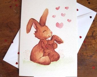 Bunny love card, Cute card, Greetings card, Birthday card, Mummy and baby bunny card, Love card, Romantic card, Card, Rabbit card, Hearts