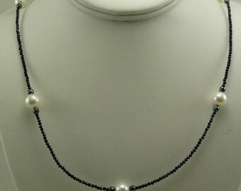 Freshwater White Pearl, Black Spinel and Hematite Necklace with Silver Clasp 36""