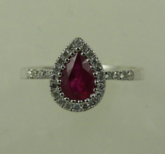 Ruby 0.78ct Ring 18k White Gold with Diamonds