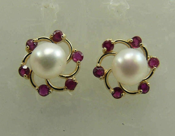 Freshwater 6.1mm Pearl Earring and Ruby Jackets 14k Yellow Gold
