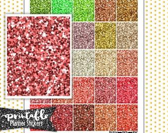 50% Off Summer Sale!  Glitter Full Boxes  (Golds, Reds, & Oranges) PRINTABLE Planner Stickers | Pdf, Jpg, Silhouette Studio V3 Format