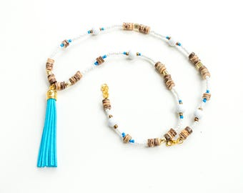 Long Tassel Necklace, Beaded Boho Long Necklace with Tassel, Wooden Beaded Tassel Necklace, Yoga Necklace, Long Hippie Necklace