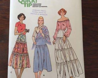 """1970s Butterick Sewing Pattern Tiered skirt, 5976 Miss Waist 30"""" complete , Peasant skirt, Boho skirt, maxi skirt"""