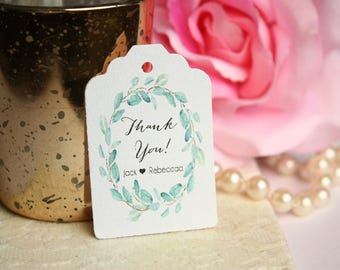 Thank You Wedding Favor Tag, Custom Eucalyptus Favor Tags, Wedding, Engagement Party Tags  - Set of 20
