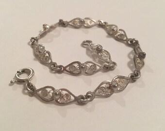 Vintage Silver Filigree Link Bracelet