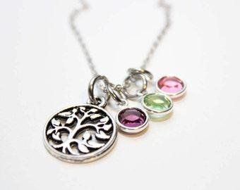 family tree birthstone necklace, family tree necklace, family tree mothers day necklace, family tree charm necklace, family tree jewelry