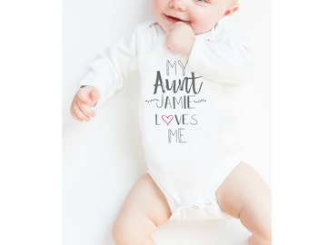 Infant Baby Bodysuit, Baby Aunt Bodysuit, Baby Gift Bodysuit, Personalized Custom Body Bodysuit, Aunt Uncle Love Me, Max and Mae Kids
