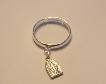 Tiny Arched Miraculous Medal Adjustable Ring in SILVER- Adjustable Catholic ring - Size 5 to 7