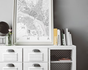 Map of Umeå, Sweden - Travel Decor - Map ART - Umeå Map - Umeå Print - Scandinavian Art - Black and White Sweden Poster - Swedish Decor