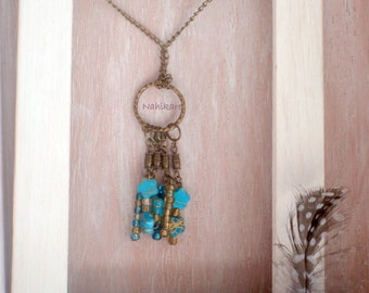 Gipsy several long necklace with flowers and beads turquoise Czech crystal and Golden - Hippie - ethnic - Boho chic