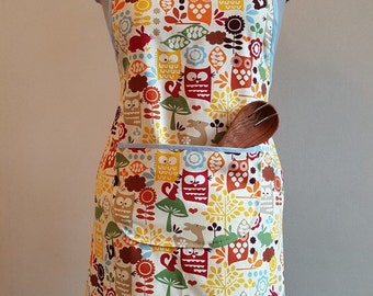Adult apron pinafore pinny in owl and deer print fabric full apron women's ladies accessories kitchen linens