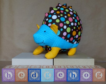 Stuffed Hedgehog Toy with Brown Polka Dots