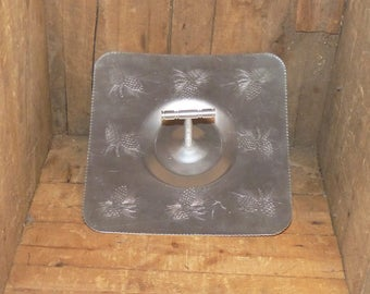 Vintage Hammered Aluminum Square Tray with Handle Pinecones Design - 1051