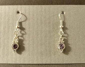 Silver earring with purple jewel silver fishhook