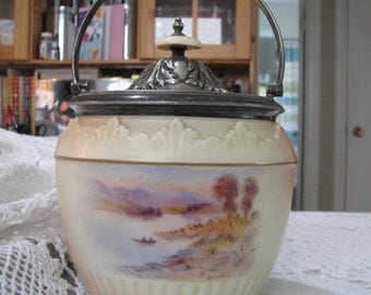 Lovely Edwardian biscuit barrel /jar by Locke & Co. England dating between 1902-1914 hand painted scene of Rydal waters in England