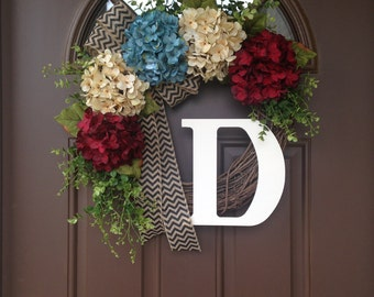 Patriotic Wreath- 4th of July Wreath - July 4th Door Decoration - Rustic American wreath with Initial -Summer Wreath - Memorial Day Wreath