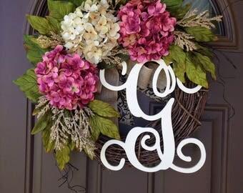 Summer Wreath Front Door- Monogrammed Hydrangea Wreath -Grapevine Wreath with Burlap - Front Door Wreath with Initial - Housewarming Gift