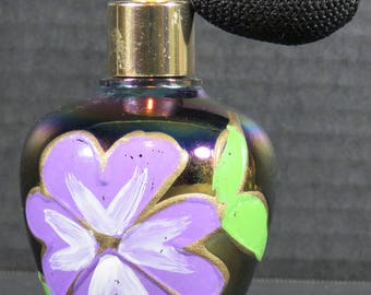 Perfume Bottle Hand Painted Flower with Black Atomizer Numbered