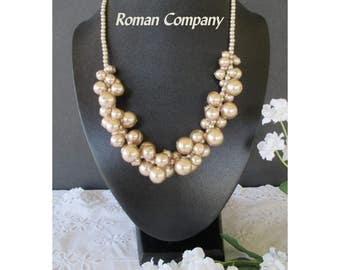 RMN Bead Necklace * Champagne Color Beads * StateNecklace ment * ROMAN COMPANY * Gift For Lady