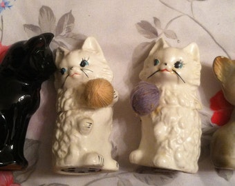 Vintage Cats and Kittens Salt and Pepper Shakers Collection (6 Shakers)