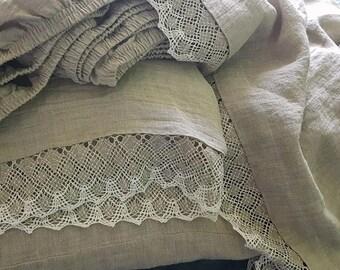 Lace linen sheet set - washed heavy linen sheets, pillow shams - soft linen sheet set - Queen sheet set, King sheet set, linen bedding