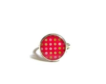 PINK POLKA DOT Ring - Flower Girl Ring - Pink Jewelry - Child's Ring - Adjustable Ring - Child's Rose Ring - Girls Gift - kids ring