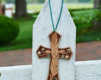Handmade Leather Saddle Cross with Feather Design
