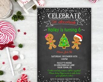 Cookie Decorating Party, Birthday Invitation, Celebrate Decorate, Cookie Invitation, Gingerbread, Decorating, Christmas Birthday, Printable