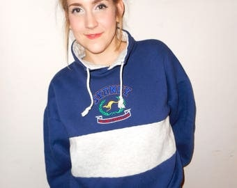 Retro 80's Sydney Australia Sweater, Oversized Sweater, Hooded Sweater, Size Large Sweater, Kangaroo Sweater, Colour Block Sweater, Hoodie