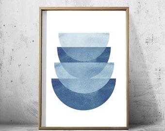 Blue Abstract Watercolor Print Geometric Art Minimalist art Scandinavian Poster Large Printable Poster Blue Wall art Digital Art Indigo Blue
