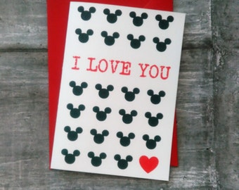 Mickey valentines card, Mickey Love card, I Love You card, Valentines card, Disney Valentines card, Mickey Birthday card.