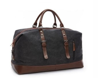 Waxed Canvas Leather Duffel Bag, Canvas Leather Travel Bag, Weekender Bag, Luggage Bag, Men Gym Bag