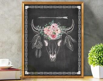 Bull Skull Decor, Bull Skull Art, Bull Skull Print, Tribal Bull Art Print, Skull Print, Chalkboard Skull, Aztec Print, Tribal Chalkboard
